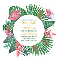 Tropical wedding invitation with round frame vector