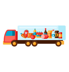 Truck with food vector