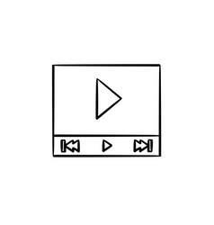 video player interface with play button hand drawn vector image