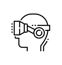 Virtual reality glasses on head - line design vector