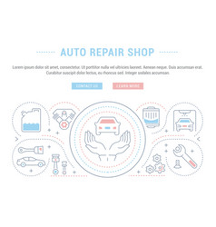 Website banner and landing page auto repair vector