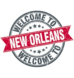 Welcome to New Orleans red round vintage stamp vector