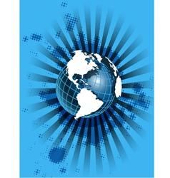 white globe on blue vector image