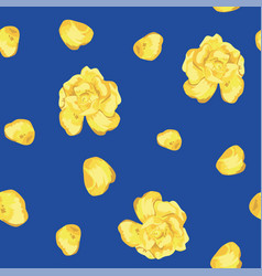 yellow roses flowers petals seamless blue vector image
