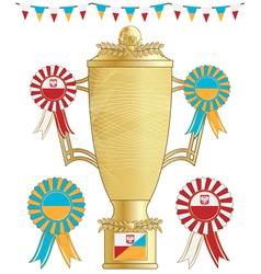 poland ukraine football trophy vector image vector image