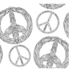 seamless texture with a black and white peace vector image vector image