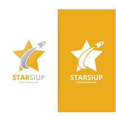 star and rocket logo combination leader vector image vector image