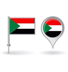 Sudanese pin icon and map pointer flag vector image vector image