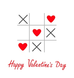 Tic tac toe game with cross and three heart sign vector image vector image