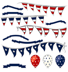 4th of july elements set vector image
