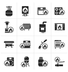 Black Household Gas Appliances icons vector image