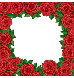 Frame of red roses isolated on white background vector image vector image