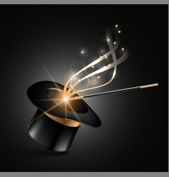 magic hat and wand with magical gold sparkle trail vector image