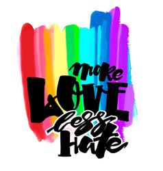 more love less hategay pride lettering vector image vector image