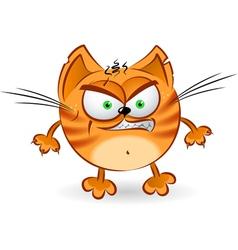 The angry orange cartoon cat vector image