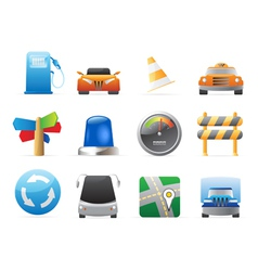 Icons for cars and roads vector image