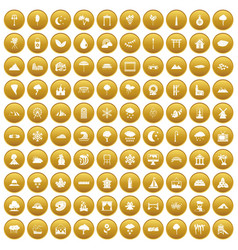 100 scenery icons set gold vector image vector image