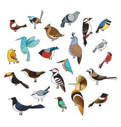Birds set lined collextion vector