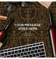 Bottles of red wine on damask vintage background vector image