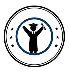 circular emblem with man with graduation outfit vector image