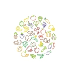 Fruit and vegetable logo with line icons vector image vector image