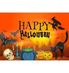 Happy Halloween witchcraft and horror scene vector image
