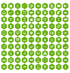 100 programmer icons hexagon green vector