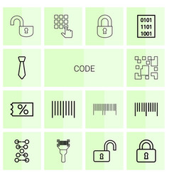 14 code icons vector