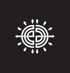 Abstract letters ea stripes arrows line logo vector