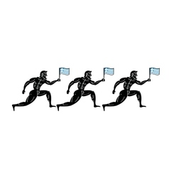 Ancient greek athletic runners with national flag vector image
