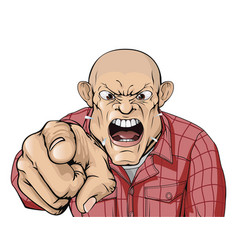 Angry man with shaved head shouting and pointing vector