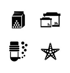 Aquarium simple related icons vector