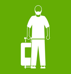 arabic man icon green vector image vector image
