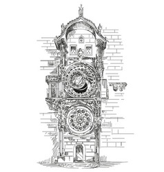 Astronomical clock in prague vector