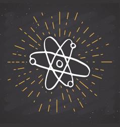 Atom symbol vintage label grunge textured retro vector