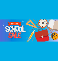 Back to school sale horizontal banner vector
