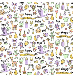 badoodle and lettering seamless pattern vector image