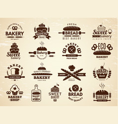 bakery labels pastry and cupcakes cafe icons vector image