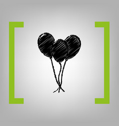 balloons set sign black scribble icon in vector image