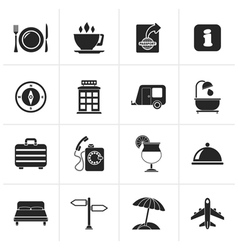 Black Traveling and vacation icons vector image