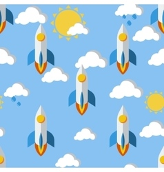 Bright seamless pattern with rockets clouds and vector image