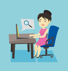 business woman searching information on internet vector image