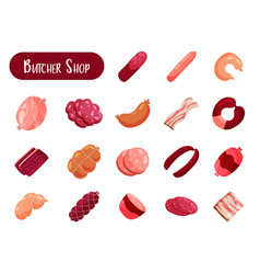 Butcher shops isolated meat products vector