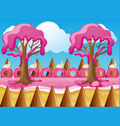 Candy land with strawberry cream trees vector