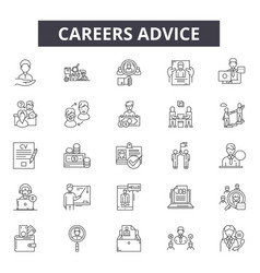Career advice line icons for web and mobile design vector