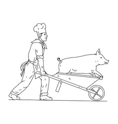 Chef with wheelbarrow and pig drawing black and vector