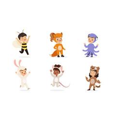 children in costumes different animals set of vector image