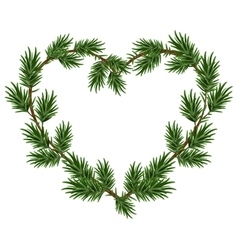 Christmas heart frame spruce branches Template vector image