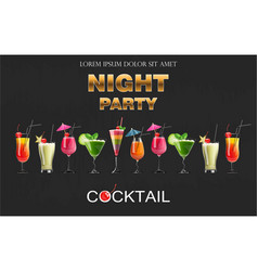 cocktail drinks realistic banner night vector image