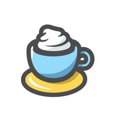 coffee cappuccino cup icon cartoon vector image